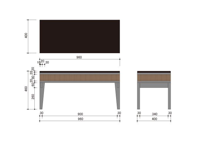 アジアン家具 ウォーターヒヤシンスのベンチ CC-WC-07