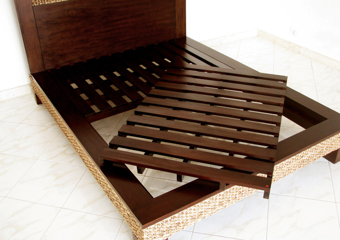 アジアン家具 ウォーターヒヤシンスのベッド WBD-03(Q)