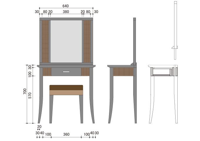 アジアン家具 ウォーターヒヤシンスのドレッサー WDS-01(SET)