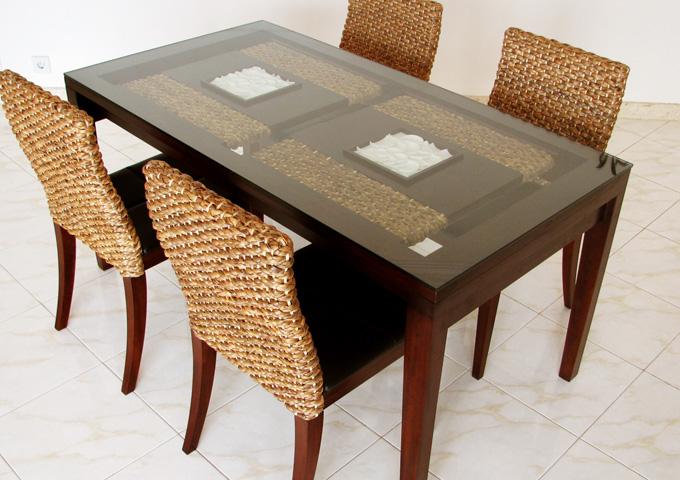 アジアン家具 ウォーターヒヤシンスのダイニングテーブル WDT-03