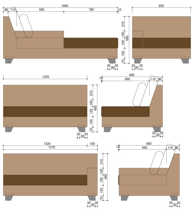 アジアン家具 ウォーターヒヤシンスのデイベッドソファ・カウチ WS16SET(4P)-A