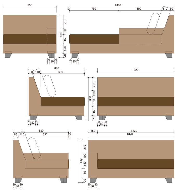 アジアン家具 ウォーターヒヤシンスのデイベッドソファ・カウチ WS16SET(4P)-B